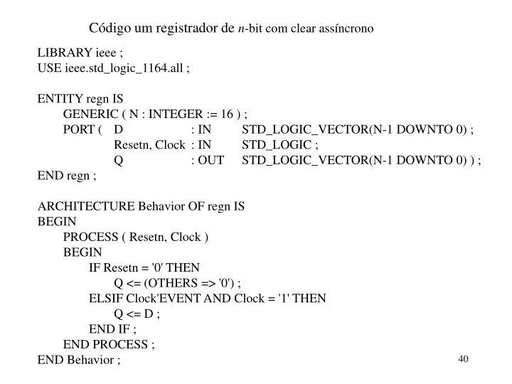 Código um registrador de