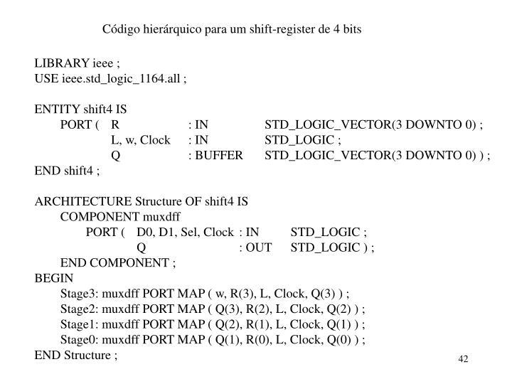 Código hierárquico para um shift-register de 4 bits