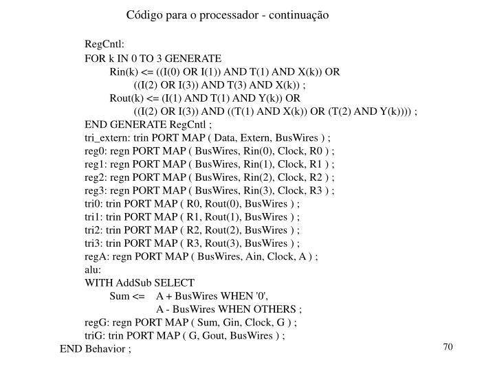 Código para o processador - continuação