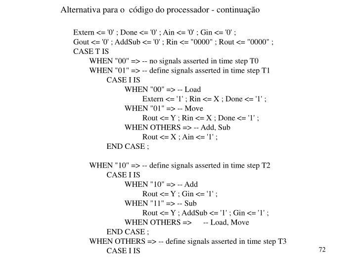 Alternativa para o  código do processador - continuação