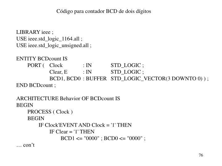 Código para contador BCD de dois dígitos
