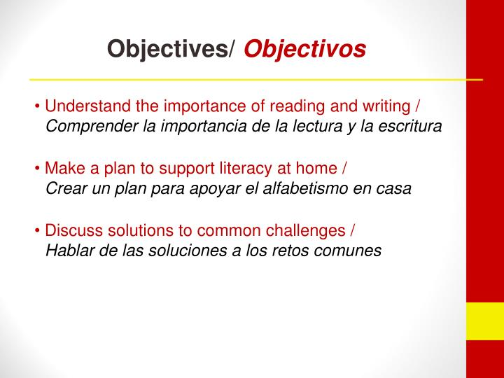 Objectives objectivos