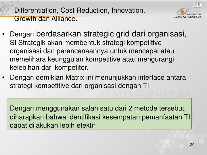 Differentiation, Cost Reduction, Innovation, Growth dan Alliance.