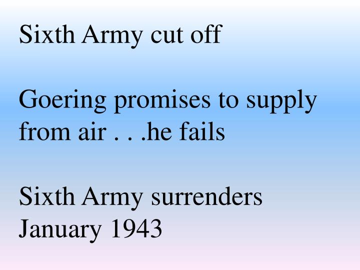 Sixth Army cut off