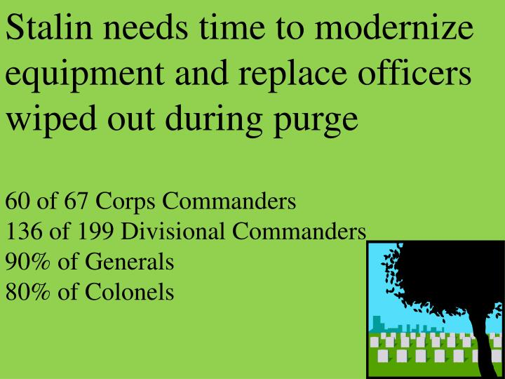 Stalin needs time to modernize  equipment and replace officers wiped out during purge
