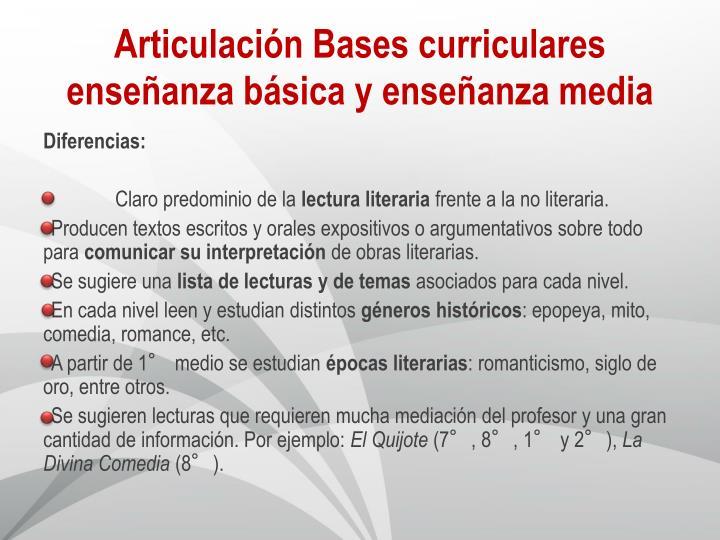 Articulación Bases curriculares enseñanza básica y enseñanza media