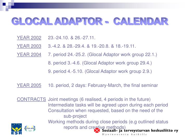 GLOCAL ADAPTOR -  CALENDAR