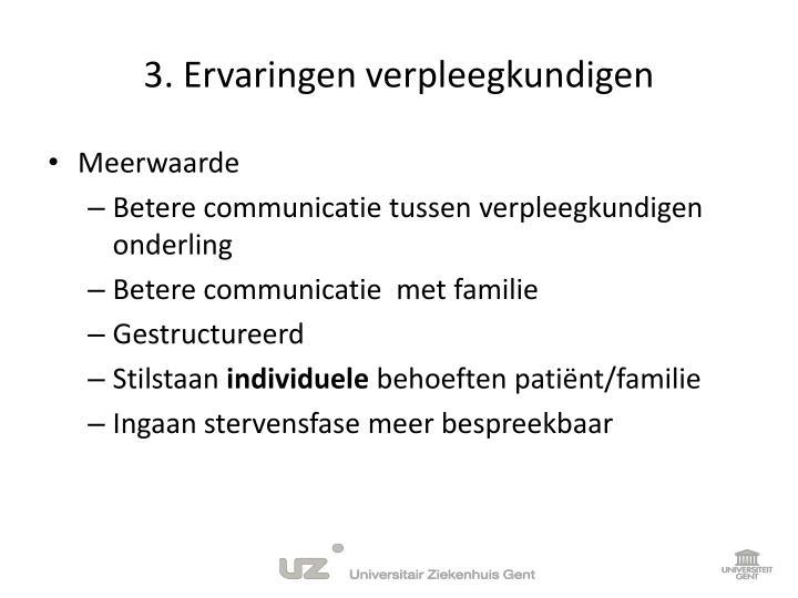 3. Ervaringen verpleegkundigen
