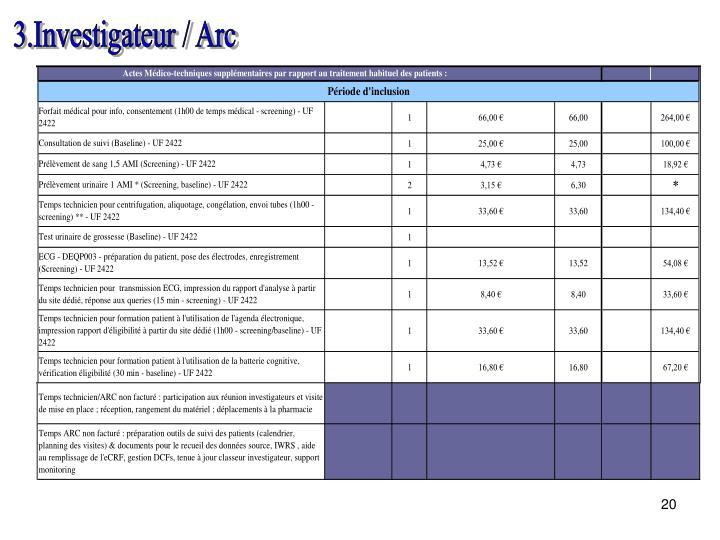 3.Investigateur / Arc