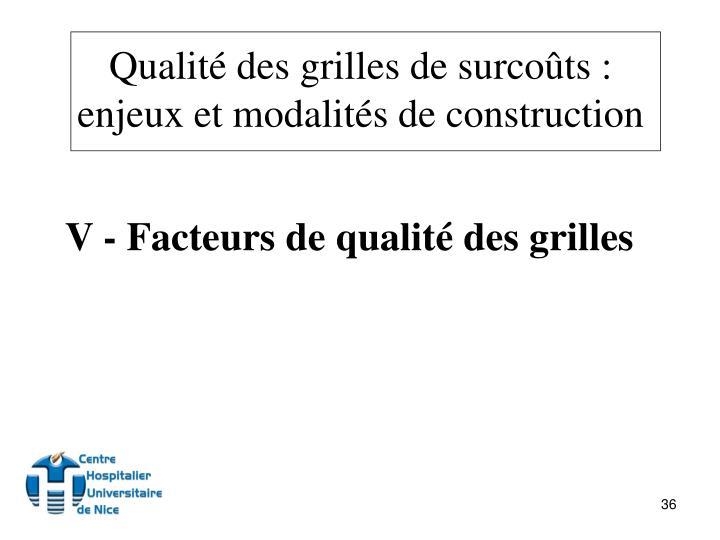 V - Facteurs de qualité des grilles