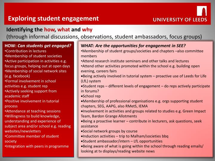Exploring student engagement