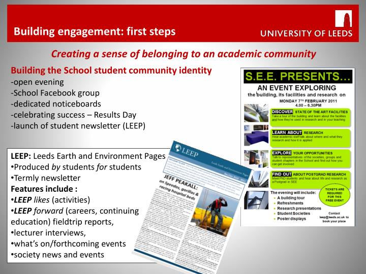 Building engagement: first steps