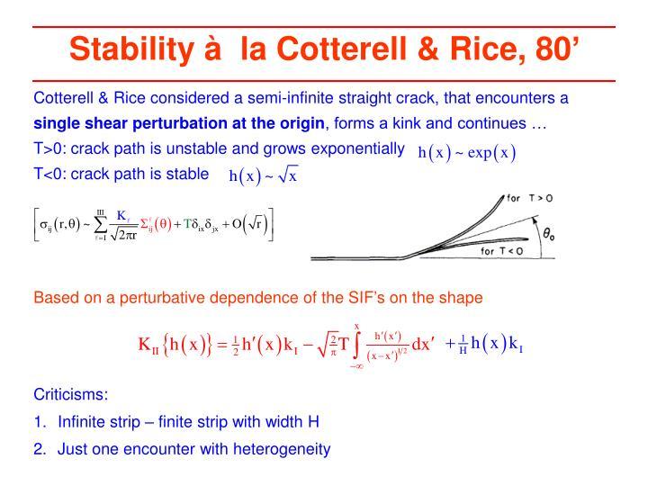 Stability à  la Cotterell & Rice, 80'