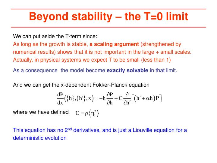 Beyond stability – the T=0 limit