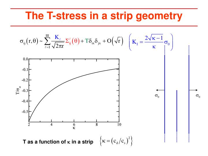 The T-stress in a strip geometry