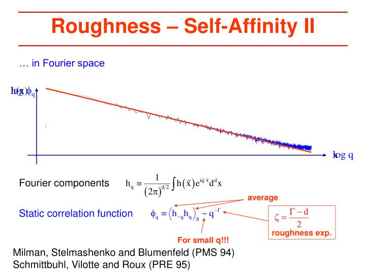 Roughness – Self-Affinity II