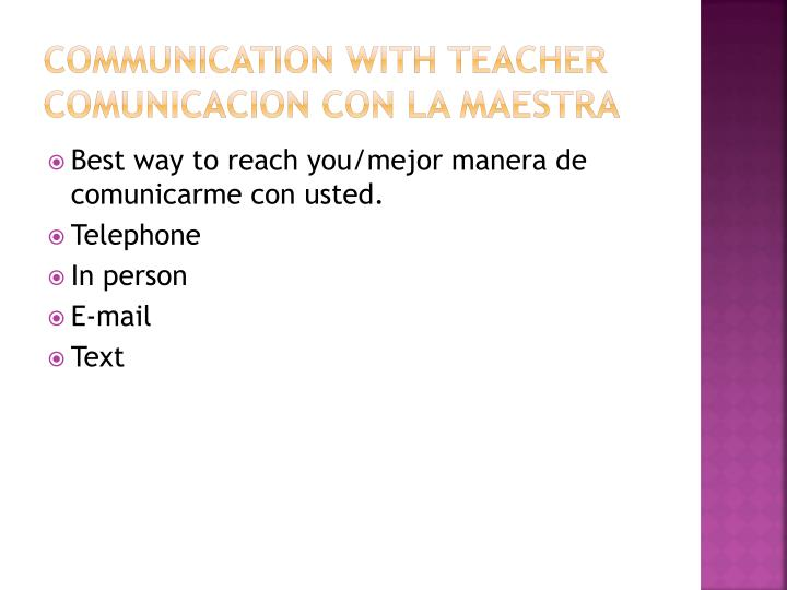 Communication with teacher
