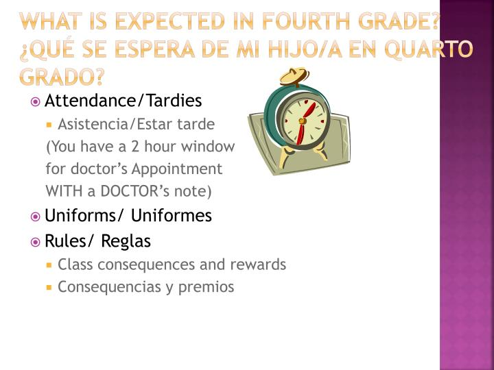 What is expected in fourth grade qu se espera de mi hijo a en quarto grado