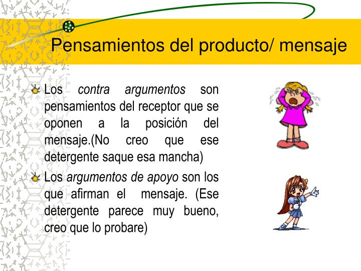 Pensamientos del producto/ mensaje