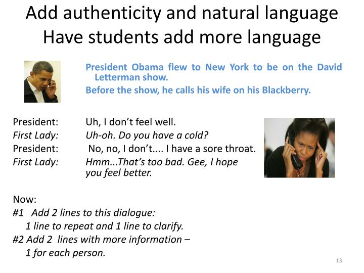 Add authenticity and natural language