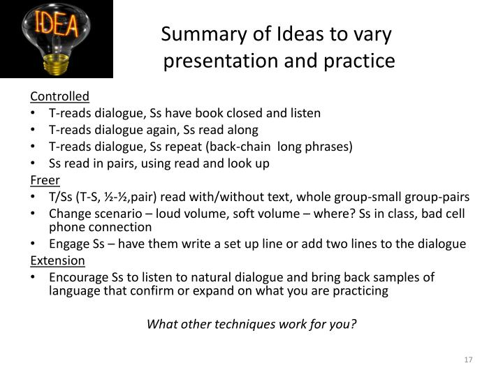 Summary of Ideas to vary
