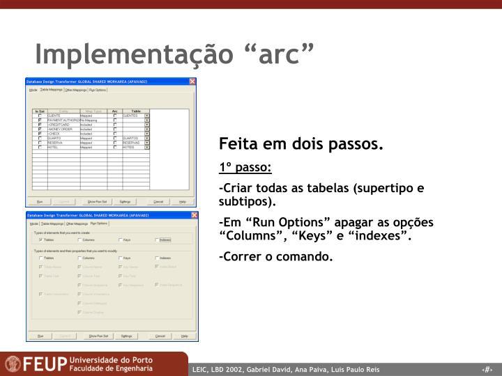 """Implementação """"arc"""""""