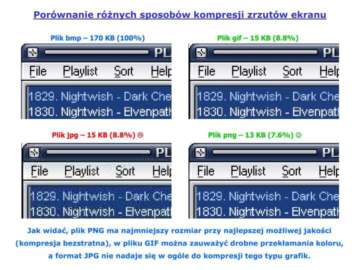 Porównanie różnych sposobów kompresji zrzutów ekranu
