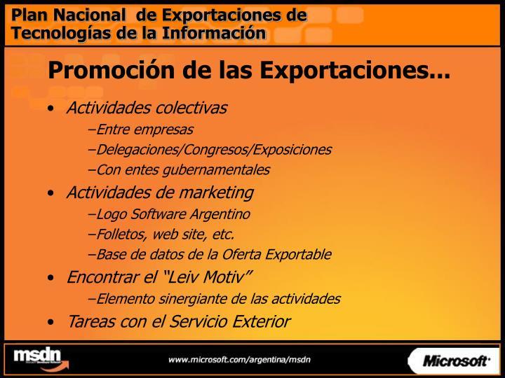 Plan Nacional  de Exportaciones de Tecnologías de la Información