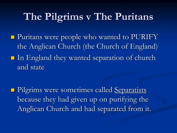 The pilgrims v the puritans