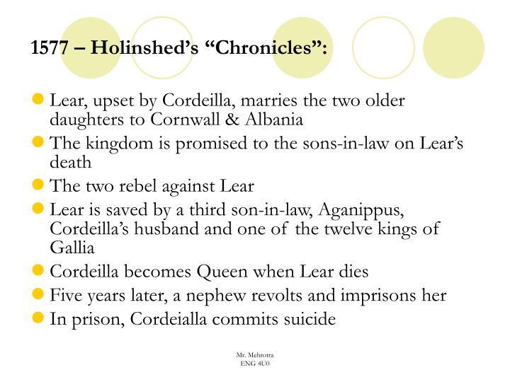 "1577 – Holinshed's ""Chronicles"":"