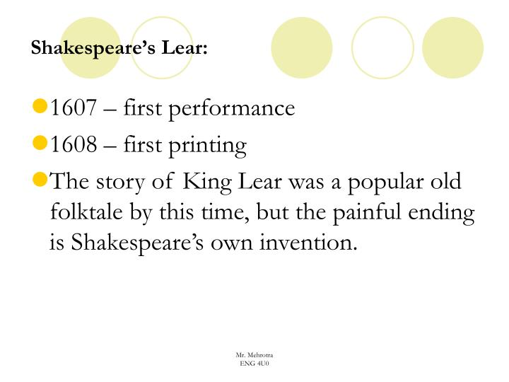 Shakespeare's Lear: