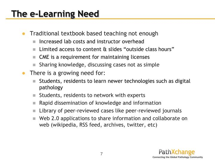 The e-Learning Need
