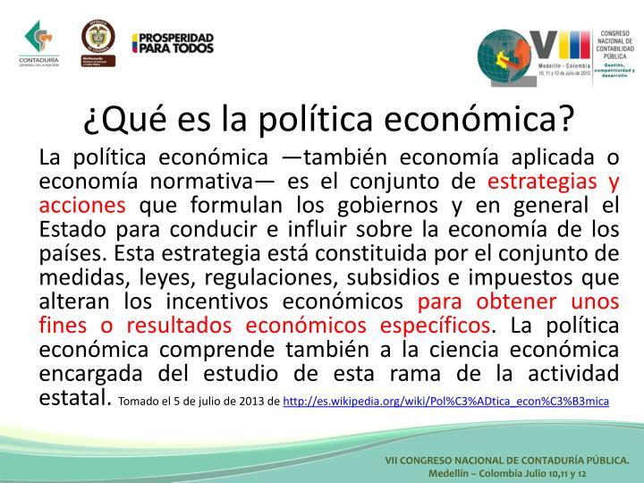 ¿Qué es la política económica?