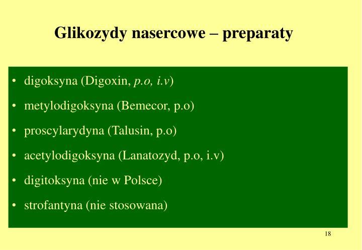 Glikozydy nasercowe – preparaty