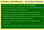 leki beta adrenolityczne mechanizm dzia ania