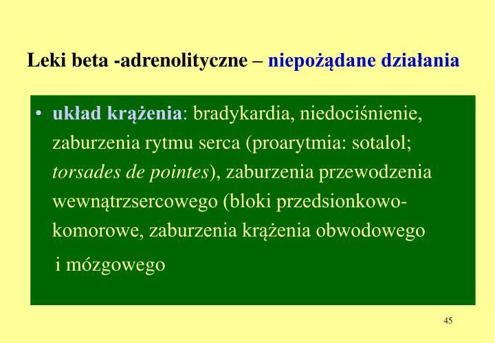 Leki beta -adrenolityczne –