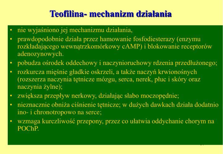 Teofilina- mechanizm działania