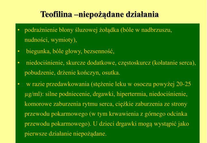 Teofilina –niepożądane działania
