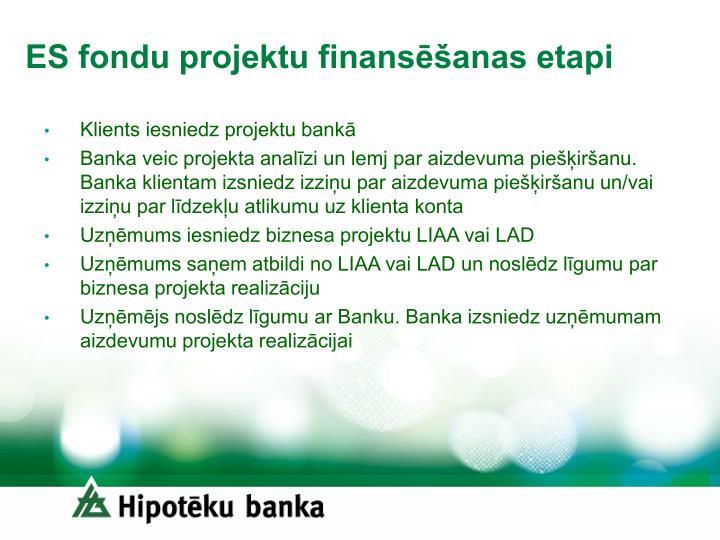 ES fondu projektu finansēšanas etapi
