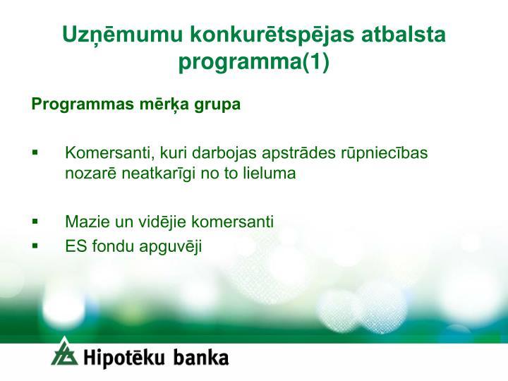 Uzņēmumu konkurētspējas atbalsta programma(1)
