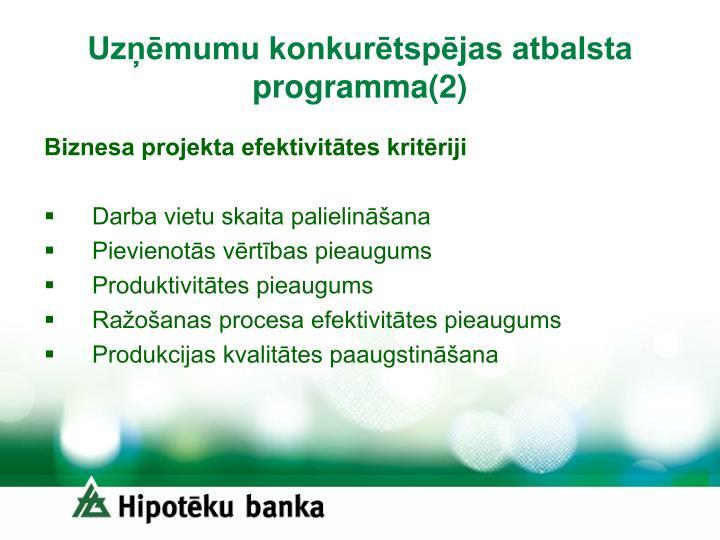 Uzņēmumu konkurētspējas atbalsta programma(2)