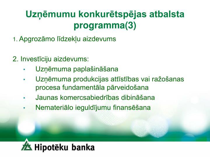 Uzņēmumu konkurētspējas atbalsta programma(3)
