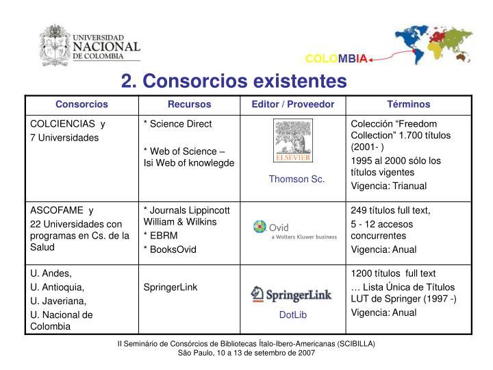 2. Consorcios existentes