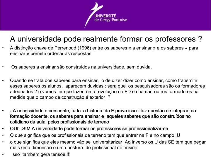 A universidade pode realmente formar os professores ?