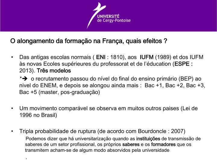 O alongamento da formação na França, quais efeitos ?