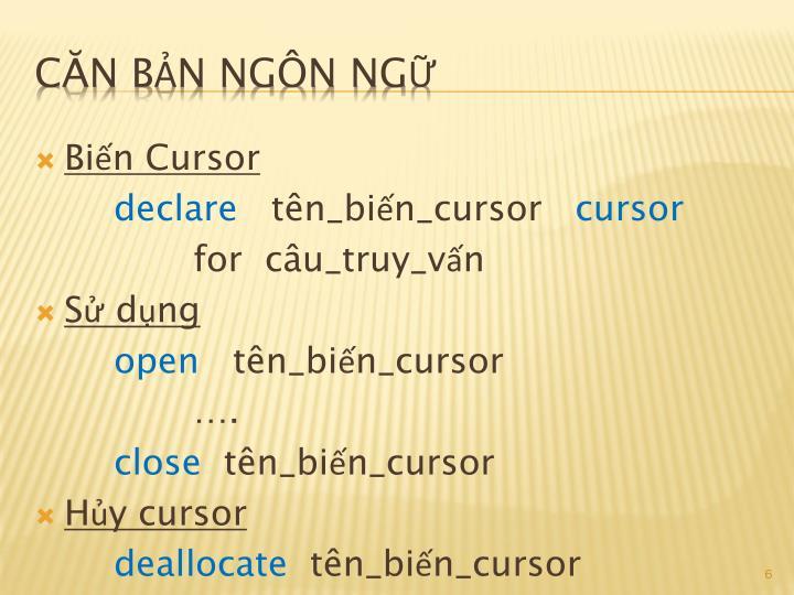Biến Cursor