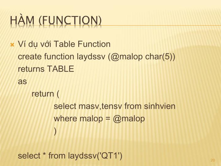 Ví dụ với Table Function