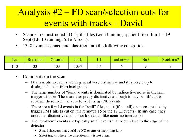Analysis #2 – FD scan/selection cuts for events with tracks - David