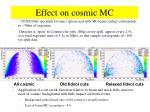 effect on cosmic mc