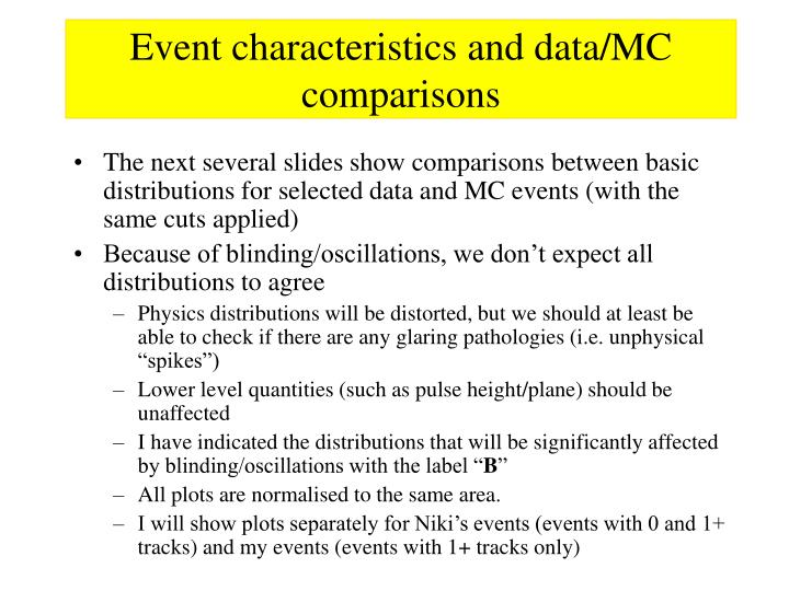 Event characteristics and data/MC comparisons